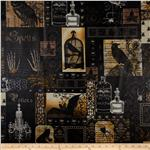 Michael Miller Nevermore Laminated Cotton Nevermore Collage Black