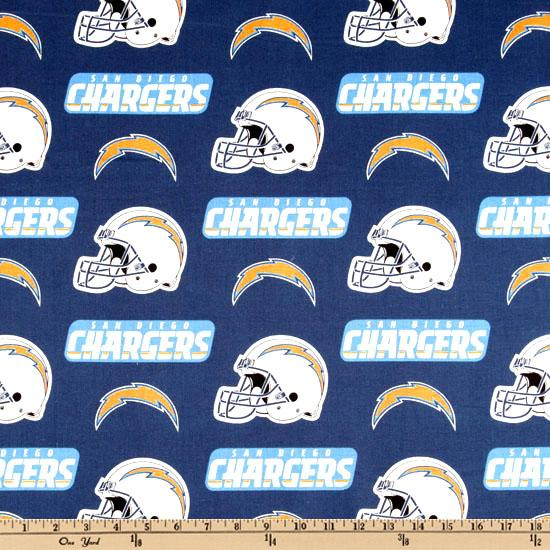 NFL Cotton Broadcloth San Diego Chargers Blue/White/Yellow
