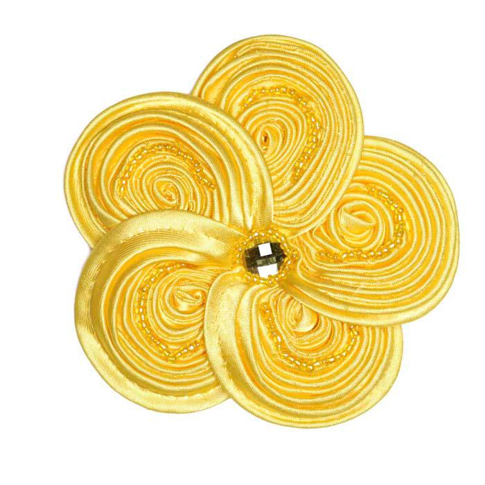 Victoria 3-1/2&#39;&#39; Silky Ribbon Brooch Yellow