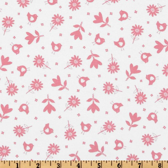 Bonny Bloom Flannel Small Flower White/Pink