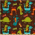 UO-915 Michael Miller PUL (Polyurethane Laminate) Dino Dudes Brown