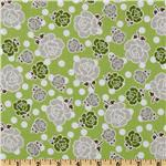 213841 Riley Blake Polka Dot Stitches Floral Green