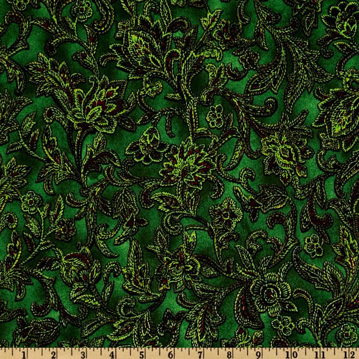 Holiday Treasures Floral Green
