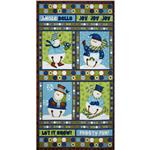 FP-588 Jingle Bell Snowmen Wallhanging Panel Blue/Brown