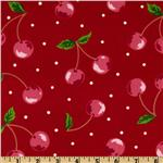 Kokka Trefle Oxford Cotton Canvas Cherries Red