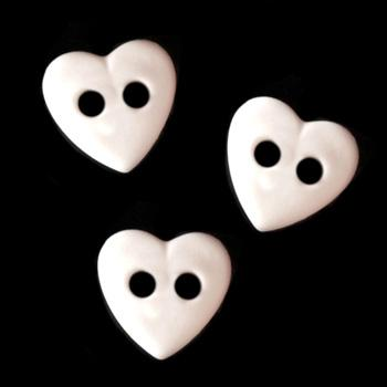 Novelty Buttons 3/8&#39;&#39; Petit Hearts White