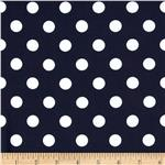 0296573 Stretch ITY Jersey Knit Medium Dots Navy/White