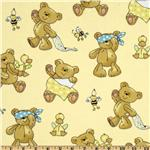 Fabri-Quilt Cuddle Flannel Teddy Bears Cream