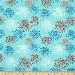 Riley Blake Star Spangled Stripes Fireworks Aqua