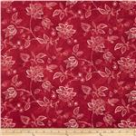 "Essentials 108"" Quilt Backing Jacobean Vine Red"