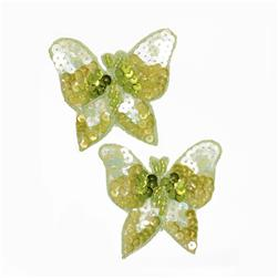 Butterfly Sequin Applique Pair Green