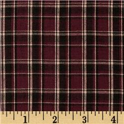 Homespun Yarn Dyed Plaid Shirting Maroon/Brown/Tan