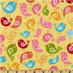 Riley Blake Hello Sunshine Flannel Hello Birds Yellow