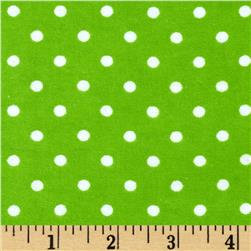 Aunt Polly's Flannel Small Polka Dots Lime/White