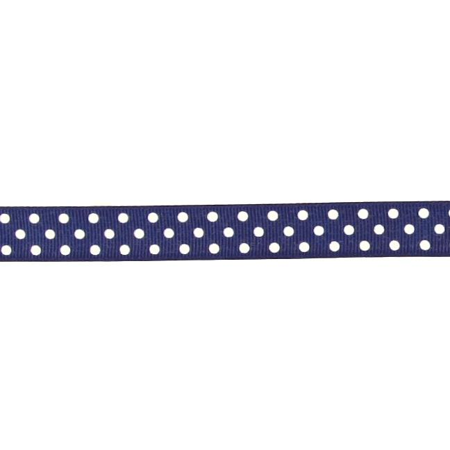 "5/8"" Grosgrain Ribbon Polka Dots Navy/White"