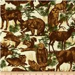 Timber Lodge Flannel Forest Animals With Trees Parchment Natural