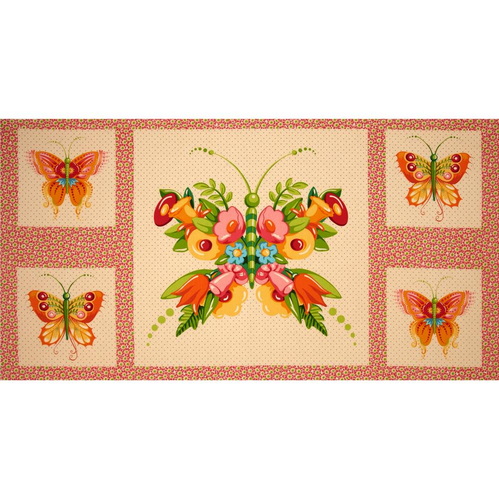Mary Engelbreit Flutterby Panel Floral Butterfly Cream/Pink