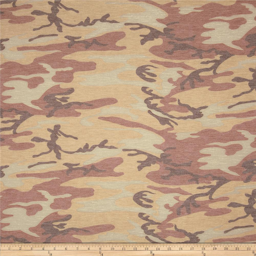 Stretch Jersey Knit Abstract Camo Tan/Rose