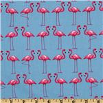 FR-595 Michael Miller Shore Thing Flamingo Dance Blue