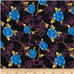 Madeline Shirting Tossed Rose Floral Blue/Black