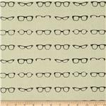 0275924 Riley Blake Geekly Chic Glasses Off White
