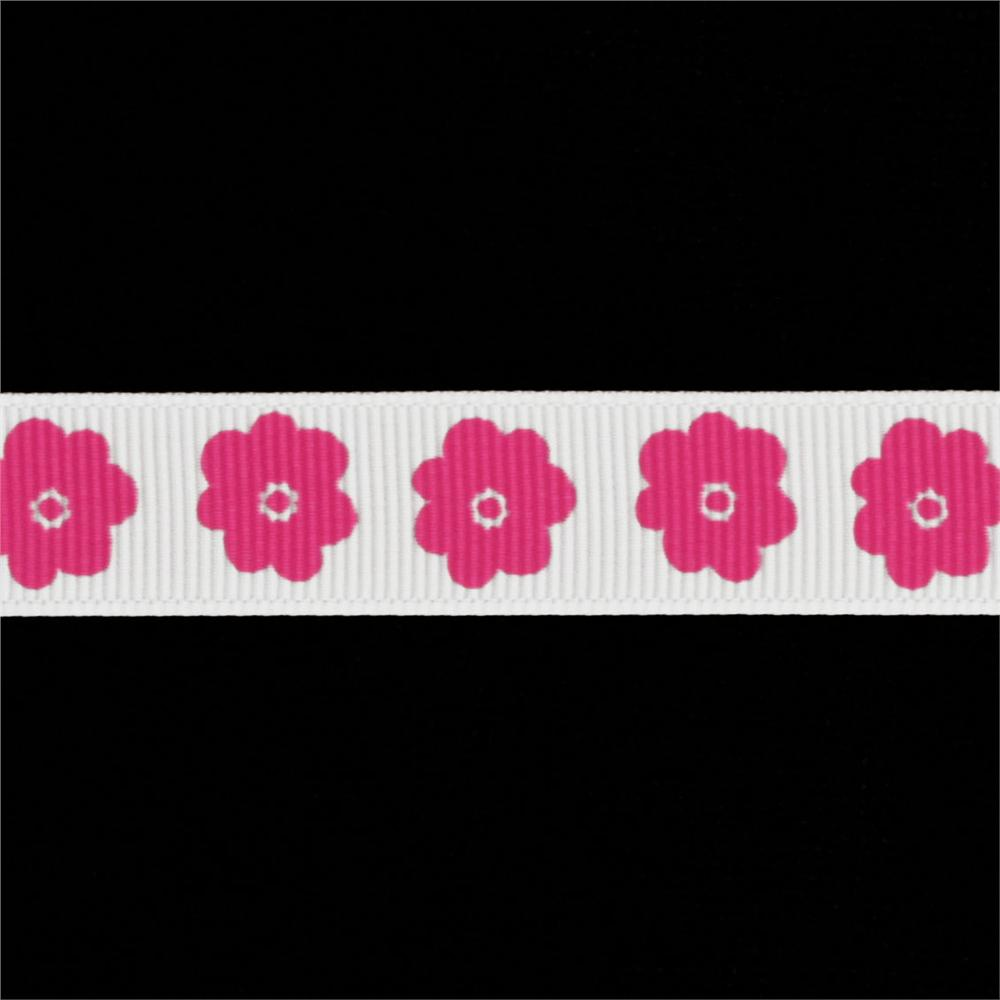 Riley Blake 5/8&quot; Grosgrain Ribbon Flower Hot Pink