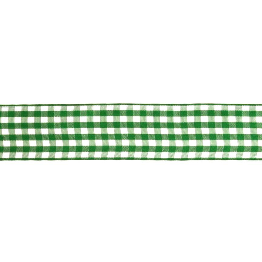 1.5&quot; Gingham Ribbon Kelly Green/White