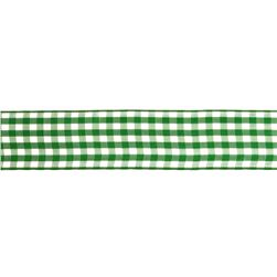 "1.5"" Gingham Ribbon Kelly Green/White"