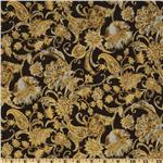 La Scala 4 Paisley Floral Metallic Gold/Brown
