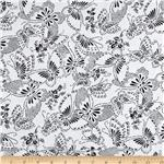 "110"" Wide Quilt Backing Butterfly White/Black"