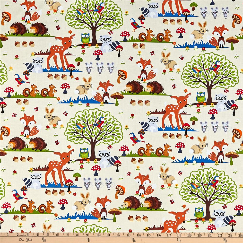 Bright Eyed and Bushy Tailed Large Forest Animals Cream