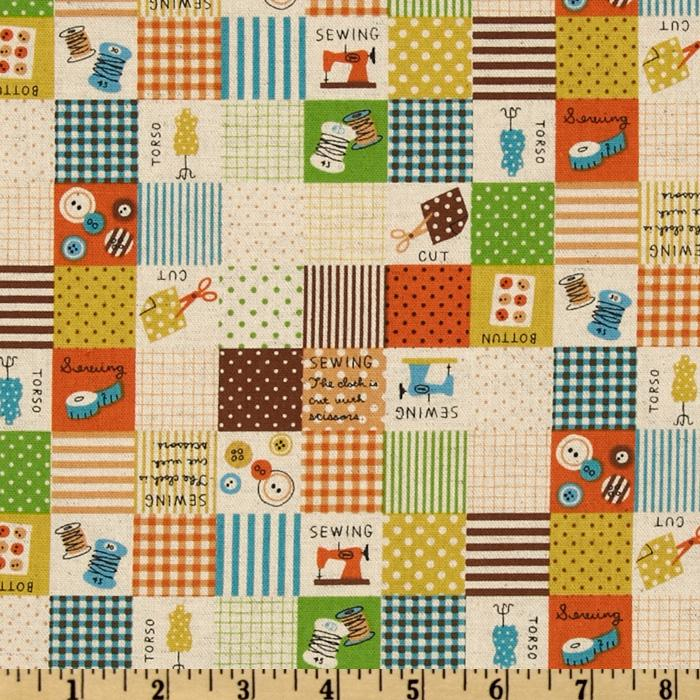 Kokka Trefle Cotton/Linen Canvas Sewing Blocks Orange