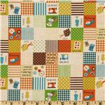 FK-706 Kokka Trefle Cotton/Linen Canvas Sewing Blocks Orange
