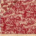 Christmas In The Woods Double Sided Quilted Cabin And Sleighs Red