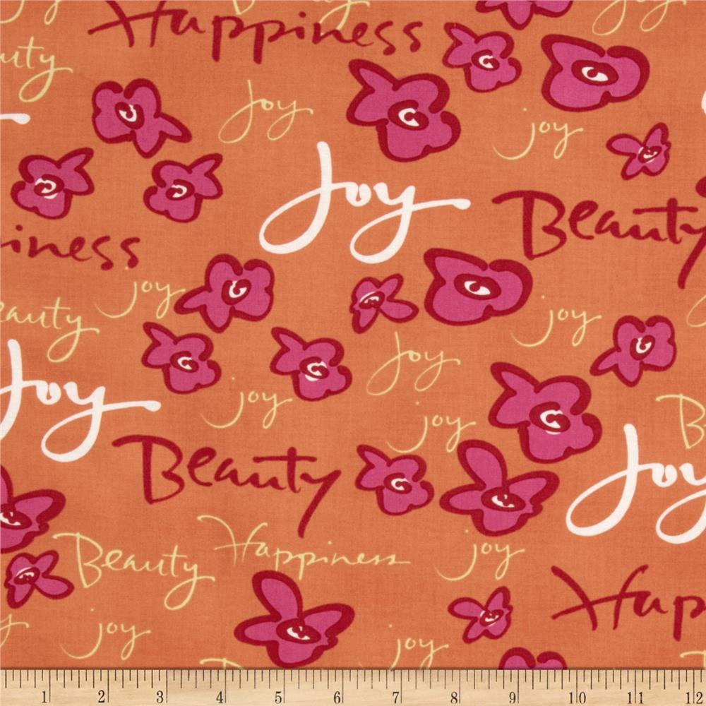 Happiness Sweet Words Orange/Fuchsia