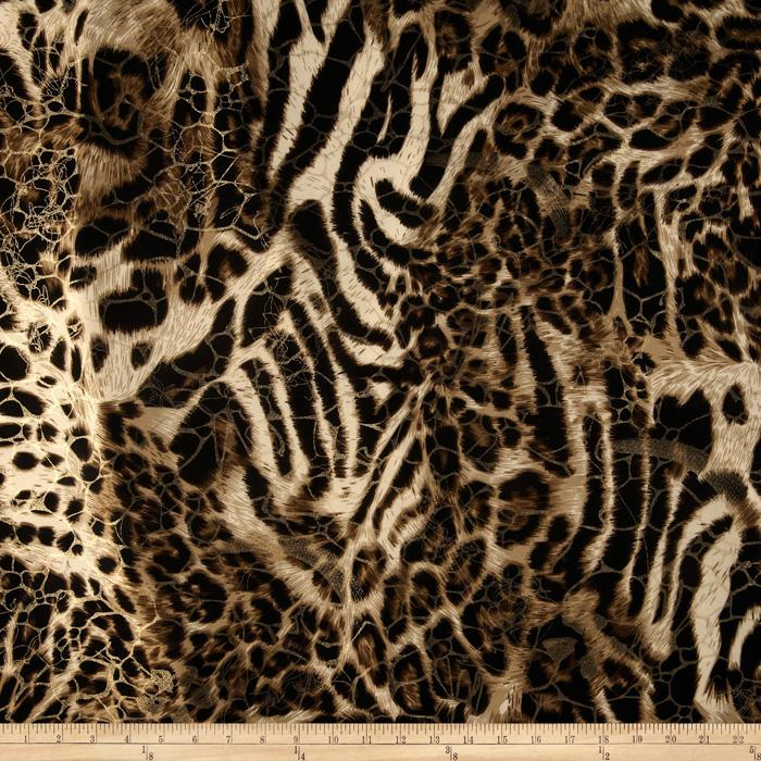 Safari Shimmer Stretch ITY Knit Spots Gold/Natural