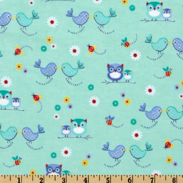 Comfy Flannel Kiss Birds Aqua