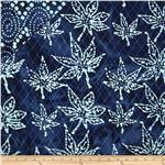 Double Sided Quilted Indian Batik Leaf Indigo