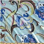 Stretch Panne Velvet Deco Blooms Blue/Celery