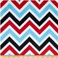 Minky Cuddle Chevron Aqua/Red/Black