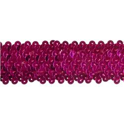 "1 1/2"" Stretch Metallic Sequin Trim Fuchsia"