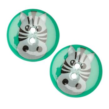 Novelty Button 1&#39;&#39; Critter Zebra Multi