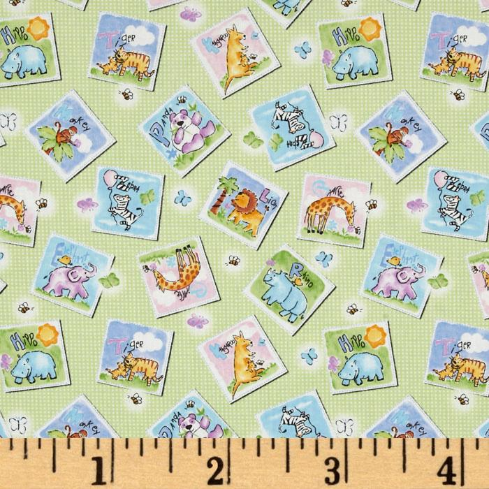 Gingham Safari Tossed Animal Patches Mint