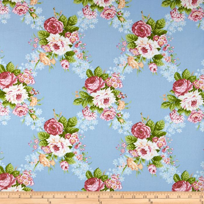 Hill Farm Large Floral Blue