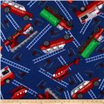 Fleece Tossed Fire Trucks Blue