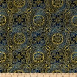 Timeless Treasures Majesty Metallic Medallion Navy