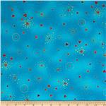 236064 Laurel Burch Basics Hearts Aqua Metallic