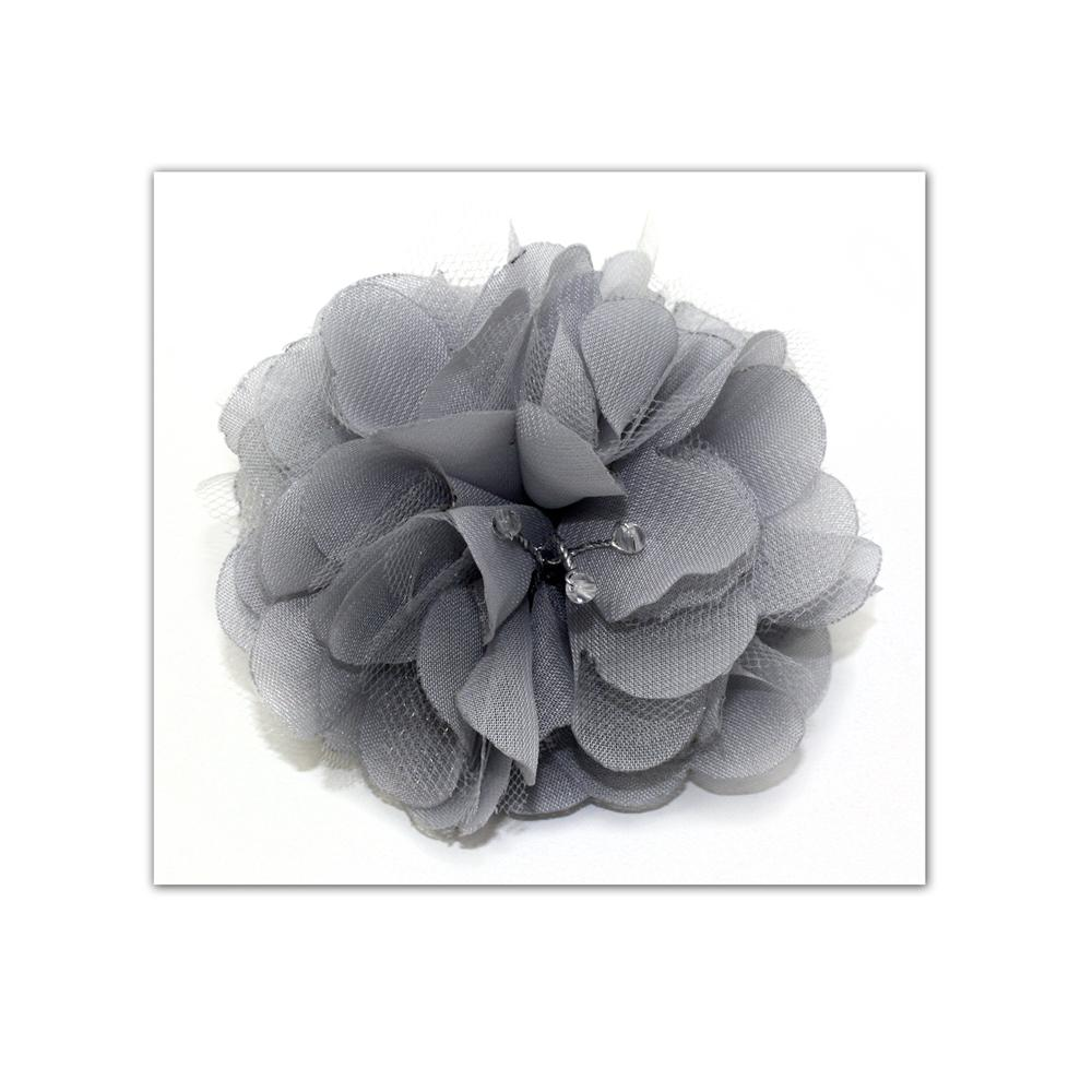 Laliberi Pin &amp; Clip Flower Side Sprig Gray