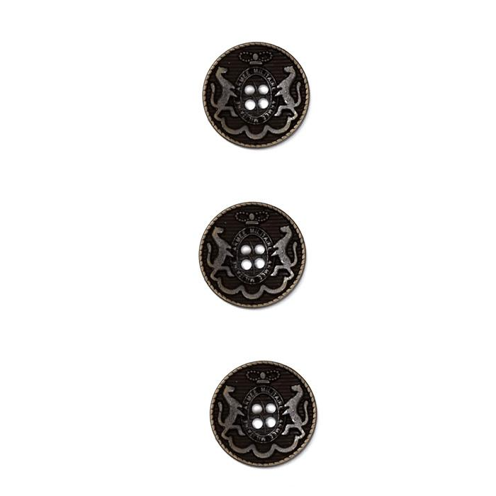 Metal Button 5/8&quot; Armee Militare Black Metal