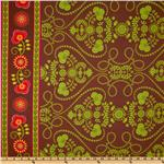 EZ-485 Michael Miller Ooh La La Bande De Fleurs Single Border Spice Brown